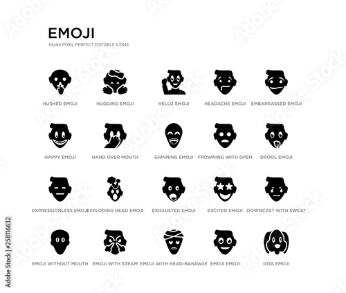 set of 20 black filled vector icons such as dog emoji