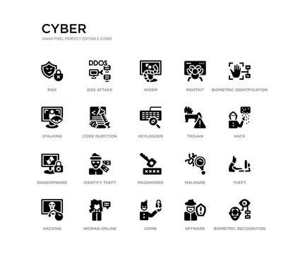 set of 20 black filled vector icons such as biometric recognition, theft, hack, biometric identification, spyware, crime, stalking, rootkit, worm, dos attack. cyber black icons collection. editable