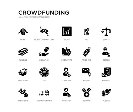 set of 20 black filled vector icons such as pledge, project, tester, equity, reward, investor, funding, ipo, stock, bionic contact lens. crowdfunding black icons collection. editable pixel perfect