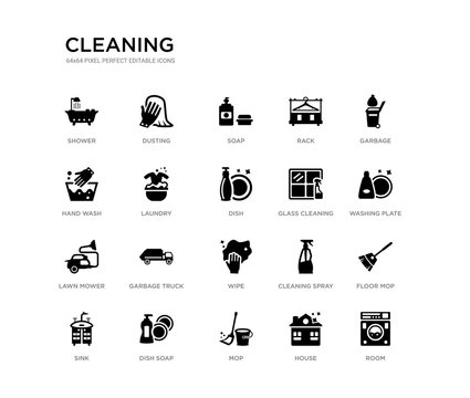 set of 20 black filled vector icons such as room, floor mop, washing plate, garbage, house, mop, hand wash, rack, soap, dusting. cleaning black icons collection. editable pixel perfect