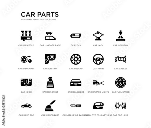set of 20 black filled vector icons such as car fog lamp