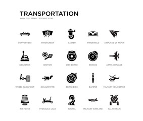 set of 20 black filled vector icons such as all terrain, military helicopter, army airplane, airplane of paper sheet, military airplane, tunnel, gearstick, windshield, caster, windscreen.