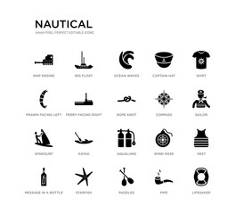 set of 20 black filled vector icons such as lifesaver, vest, sailor, shirt, pipe, paddles, prawn facing left, captain hat, ocean waves, big float. nautical black icons collection. editable pixel