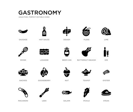 set of 20 black filled vector icons such as steak, oyster, gin, lime, pickle, salami, whisk, floss, dough, hot sauce. gastronomy black icons collection. editable pixel perfect