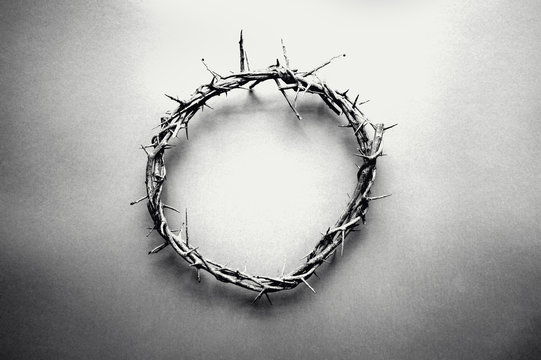 Moody black and white image of crown of thorns like Jesus Christ wore with drops of blood on tips of thorns over grunge background. Perfect for Easter. Image shot from top view.