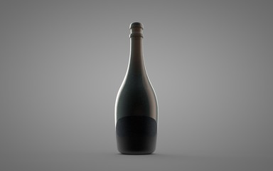 Alcohol, tincture, balsam, whiskey, cognac, brandy, wine, beer, oil, water, black bottle on white background. 3D render. Mock up for you design.