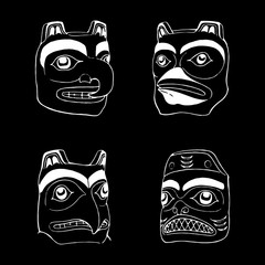 Indian faces vector tattoo