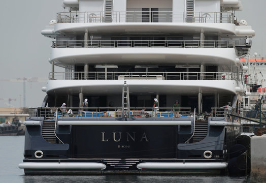 Superyacht Luna owned by Russian billionaire Farkad Akhmedov is docked at Port Rashid in Dubai