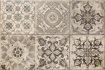 Ceramic wall and floor tiles, talavera pattern, ajulejo artwork, ethnic background