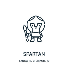 spartan icon vector from fantastic characters collection. Thin line spartan outline icon vector illustration.