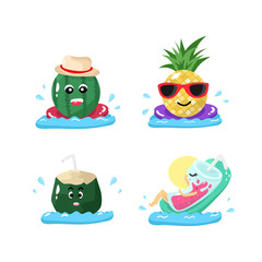 Summer, fruit and glass characters cartoon relaxing on pool, sign and symbol seasonal holiday vector