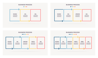 Business infographics. Banner with 3, 4, 5, 6 steps, options. Vector template. Editable line.