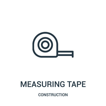 measuring tape icon vector from construction collection. Thin line measuring tape outline icon vector illustration.