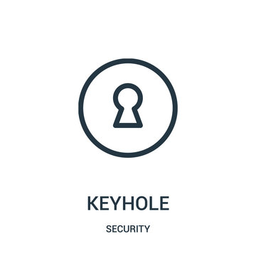keyhole icon vector from security collection. Thin line keyhole outline icon vector illustration.