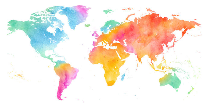 High detailed Multicolor Watercolor World Map Illustration on white Background, Side View.
