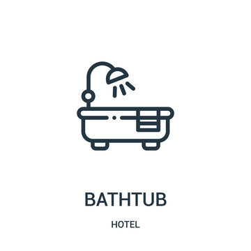 bathtub icon vector from hotel collection. Thin line bathtub outline icon vector illustration.