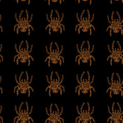 Vector seamless pattern in Mondriaan (Mondrian) style orange color spiders on a black background