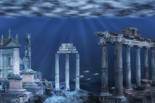 Illustration of the ruins of the Atlantis civilization. Underwater ruins