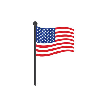 USA flag with pole icon vector isolated on white background