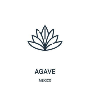 agave icon vector from mexico collection. Thin line agave outline icon vector illustration.