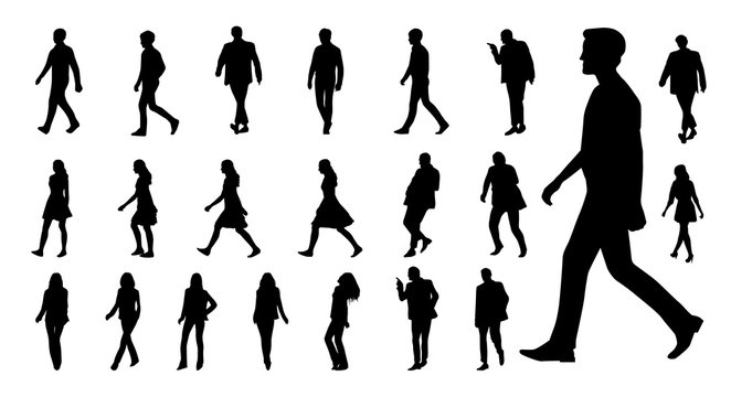 Vector collection of walking people silhouettes. Vector set