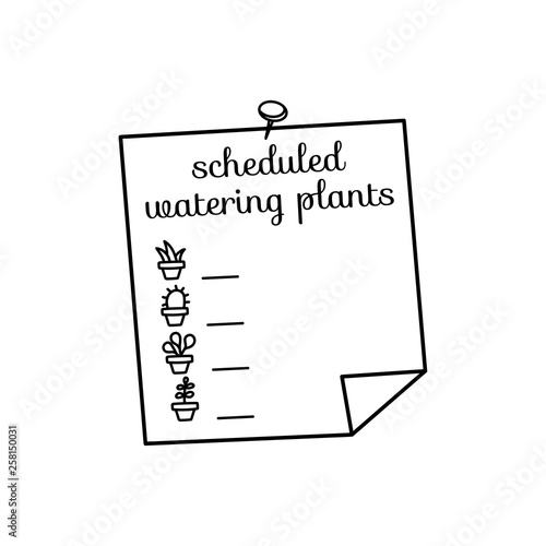 Schedule watering of the plants  Writing form  Icons of