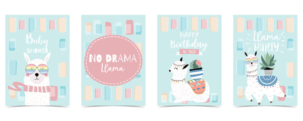 pastel baby shower invitation card with llama and cactus