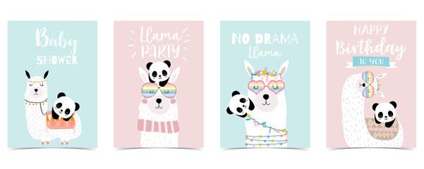 pastel baby shower invitation card with llama and panda