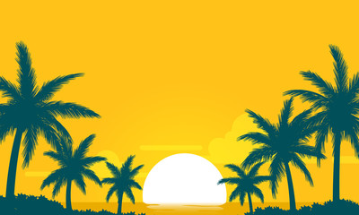 summer sunset yellow sky with silhouette coconut palm vector background
