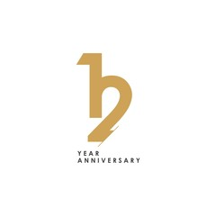 12 year Anniversary Logo Vector Template Design Illustration
