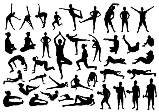 Silhouettes of slim girl practicing yoga stretching exercises.