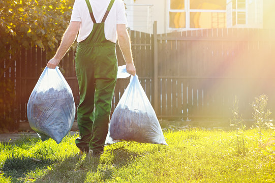 Gardener carries bags of leaves after cleaning the yard . the sun is shining brightly on the right.