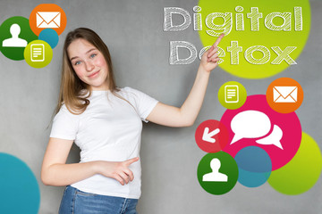 Millennial teenager girl on workplace with pc laptop and computer, bright colorful graphic icons and inscription digital detox, social network lock concept