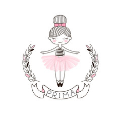 Cute little Ballerina Doll in pink transparent ballet skirt. Simple linear vector graphic illustration isolated on white . Perfect for girlish design, t-shirt fashion print, girl room wall poster