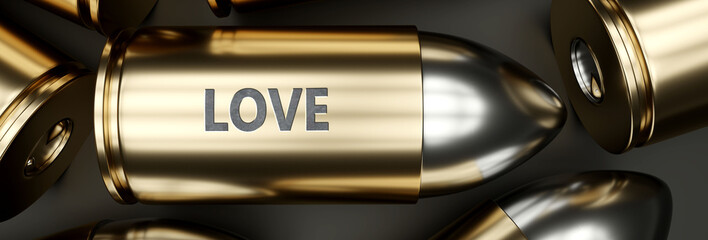 Love as a killer feature, main trait and most important attribute - power of love pictured as a 3d render of a metal bullet with engraved English word, 3d illustration
