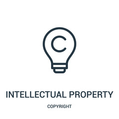intellectual property icon vector from copyright collection. Thin line intellectual property outline icon vector illustration.