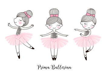 Set of cute little dancing cartoon Ballerina doll characters in pink transparent ballet skirts. Simple linear vector graphic illustration isolated on white . Perfect for girlish design, t-shirt