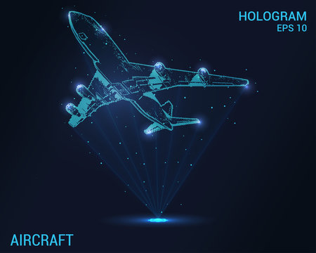 The plane hologram. Digital and technological background of the plane. Design a futuristic airliner.