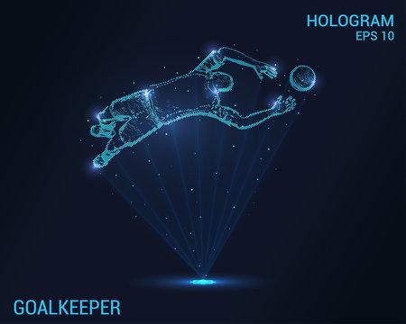 Goalkeeper hologram. Digital and technological background of football. Futuristic soccer goalkeeper design.