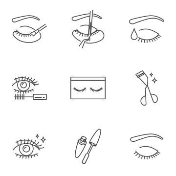 Eyelashes extension, cosmetics and make up vector icons set