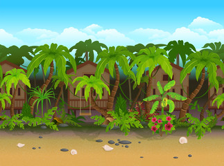 Seamless cartoon beach landscape vector illustration for games by layers.