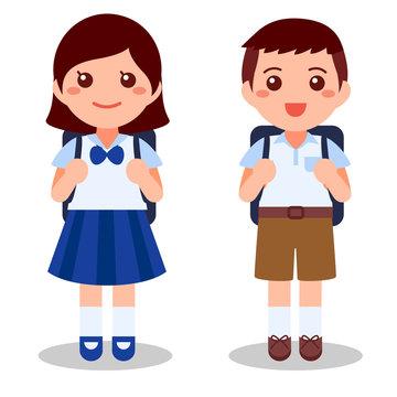 Cute thai student on white background. Flat cartoon vector illustration