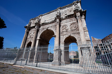 The Arch of Constantine in front of the Colosseum
