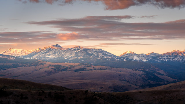 Sunset on snow covered mountains in Montana