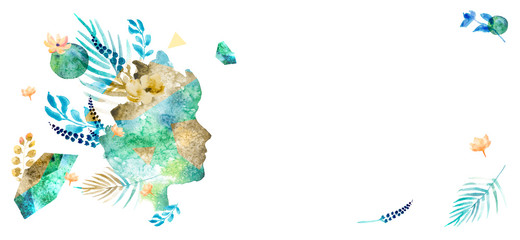 Veganism illustration with image of woman face in trendy watercolor style. Banner with leaves, branches, flowers — Introspection. Vegan concept with hand-drawn elements. Green planet.