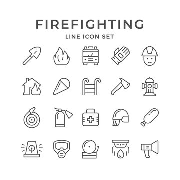Set line icons of firefighting