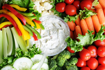 Fresh Vegetables on Party Tray with Dip - Healthy Eating Diet Food