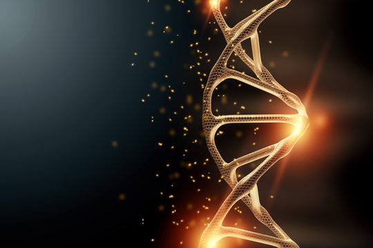 Creative background, dna structure, golden DNA molecule on gray background, ultraviolet. 3d render, 3d illustration. The concept of medicine, research, experiments, experiment, virus, disease.