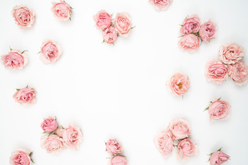Small Pink Roses Flat Lay  Stationery  Background