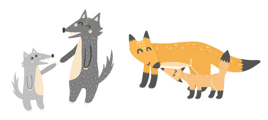 Super cute mothers and babies - wolves and foxes. Forest animals. Vector elements